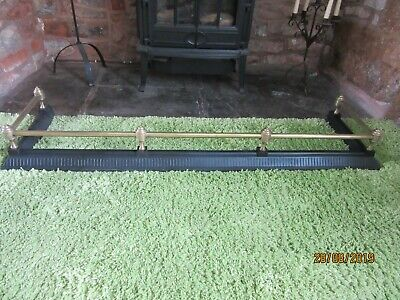 Antique Heavy Cast Iron Fire Fender Kerb with Brass Rails and 6 Brass Finials