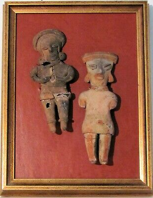 Pair of Pre-Columbian Colima figurines - framed - terracotta - 100 BC - 200 AD
