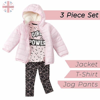 Infant Girls Quilted Jacket Geometric TShirt Leggings Set Outfit Sherpa Hood UK