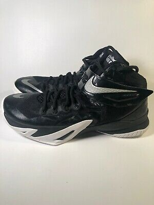 new product 0097c 94e1d NIKE ZOOM LEBRON Soldier 8 Basketball Shoes Size 9.5 653648 Black/White  Silver