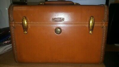Vintage Samsonite Suitcase Luggage Small Train Case Makeup Brown Hard