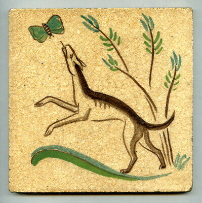 """Handpainted 6"""" tile from the """"Decorative Animals"""" series by Packard & Ord, c1936"""