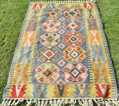 Turkish Tribal Area Kilim Wool Woven Hand Knotted Rug Carpet Handmade 3.8x5.9 ft