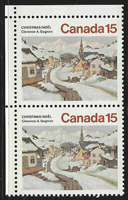 1974 - Canada  (strip of two)  Sc # 653  Christmas and Sc# 597 Bears   MNH new