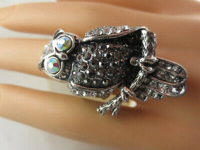 Owl Strigiformes Birds Pets Cocktail Rings Costume Jewelry Crystal Multiclor 195