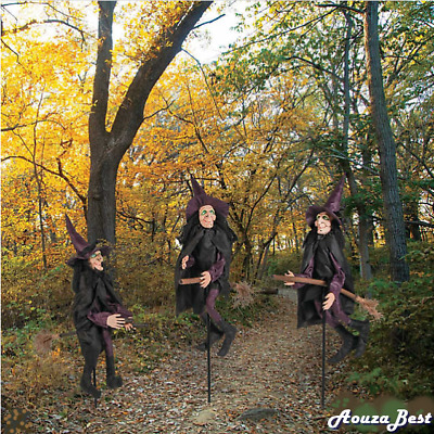 Halloween Decorations Set of 3 Creepy Scary Witches Yard Halloween Outdoor Decor