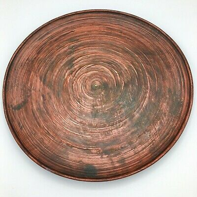 Japanese Mingei Folk Art Carved Wooden Plate Redish Brown