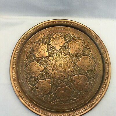 Antique Middle Eastern Hand Carved Animals Brass on Copper Tray