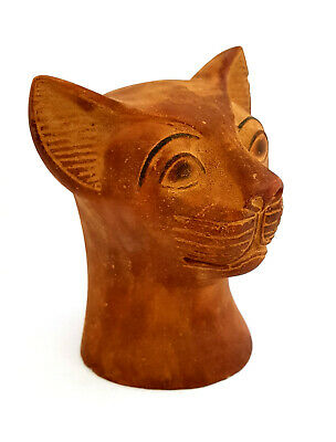 Fabulous Bastet Bust Sculpture Egyptian Antique Bast Cat Carved Figurine RARE