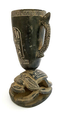Rare Egyptian Black Antique Scarab Beetle Amulet Unique W/T & Hieroglyphics Vase
