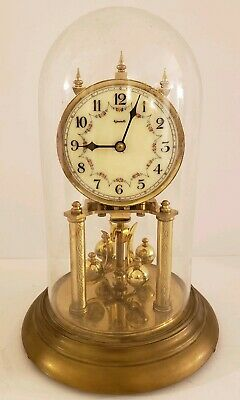 Vintage 1950's Euramca German Mid Century Glass Dome 400 Day Anniversary Clock