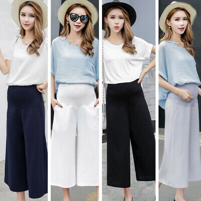 Pregnant Ladies High Waist Maternity Pants Stretchy Breathable Trousers Wide Leg