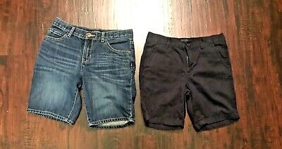 """The Childrens Place """"Bundle Lot Of 2 Boys Pull On Chino/Denim Shorts Size 7Husky"""