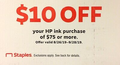 STAPLES: $10 Off $75 HP Ink Purchase  - Online Discount Code [9/28/19]