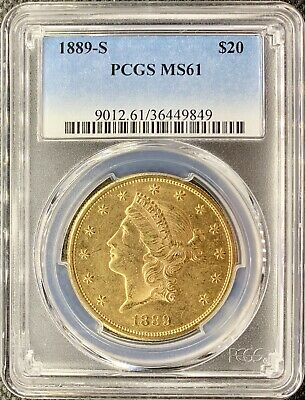 1889-S $20 American Gold Double Eagle MS61 PCGS Liberty Head Lustrous Coin!