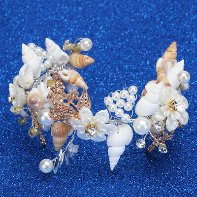 Beach Wedding Sea Shell Mermaid Crown HeadBand Bridal Tiara Party Photo Prop JA