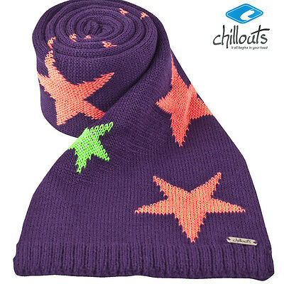 Chillouts Barbara Kid Scarf Boys Knitted Winter Scarf in Purple with Stars New