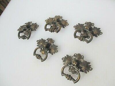 Victorian Brass Drawer Handles Cup Pulls Vintage Old Hardware Antique x5 COPE