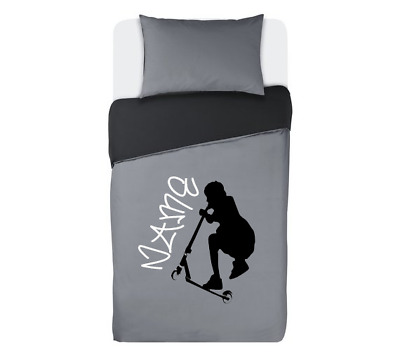 STUNT SCOOTER personalised GREY & BLACK duvet cover bedding set SINGLE OR DOUBLE