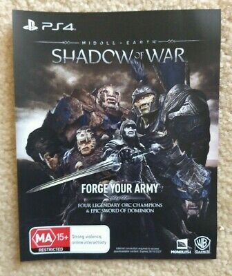 Shadow of War Forge Your Army DLC for Playstation 4 PS4