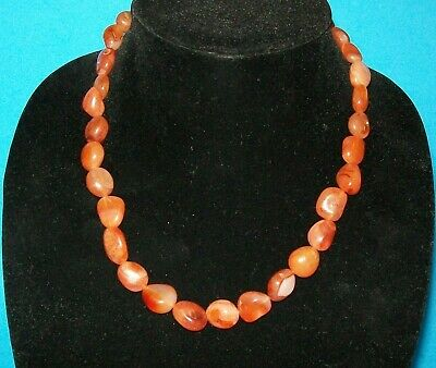 """Vintage Chinese Carnelian Polished Agate Bead Necklace 19"""" Long, 75 Grams"""