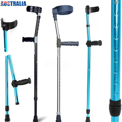 2PCS DOUBLE ADJUSTABLE FOREARM ELBOW CRUTCHES UNDERARM WALKING STICK non-slip AU