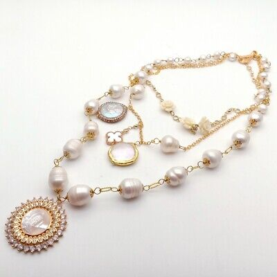 17'' 3 Rows Cultured White Pearl layered chain Necklace CZ Mop Pendant