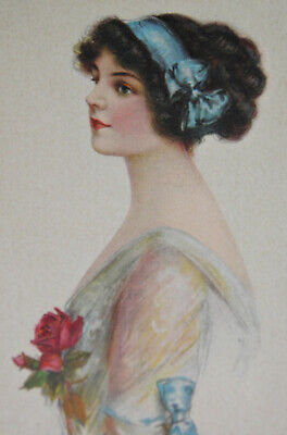 CHARMION Art Deco PRETTY GIRL Antique PORTRAIT POSTCARD Signed J KNOWLES HARE