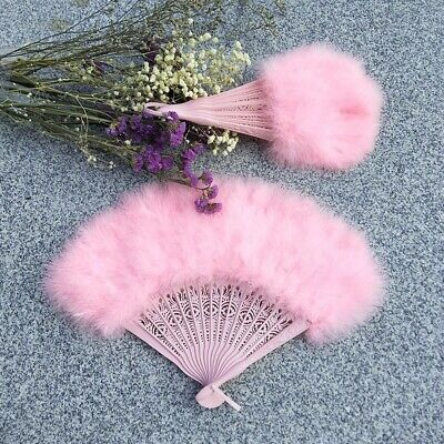 Pink Feather Fan For Dancing, Party, Wedding, Burlesque,Bridal, Kids Fan