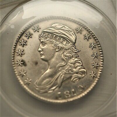 1819/8 Small 9 Over 8 Capped Bust Silver Half Dollar ANACS AU50 Details  A-1201