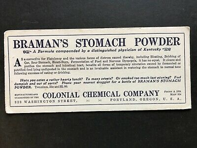 1922 Quack Medicine Braman's Stomach Powder Colonial Chemical Portland Blotter