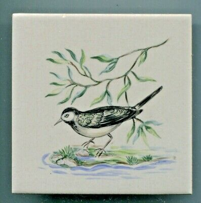 "Handpainted 4""sq tile from the ""Small Song Birds"" series by Packard & Ord, 1958"