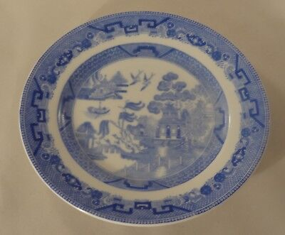 "Antique Minton Blue White Willow Pattern 6 1/2"" Side Cake Sandwich Plate c1870"