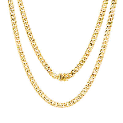 """10K Yellow Gold 5mm Real Miami Cuban Link Chain Pendant Necklace Box Clasp 20"""""""