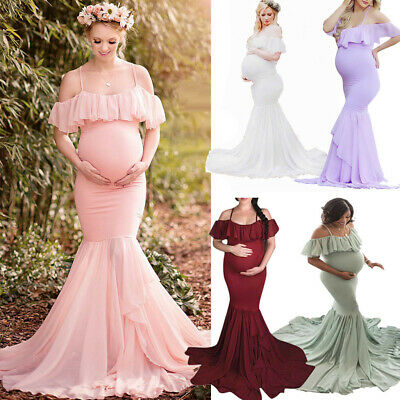 Women's Pregnants Sexy Photography Props Short Sleeve Maternity Solid Lace Dress
