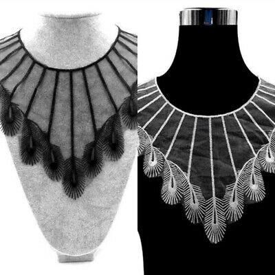 Peacock Feather Embroidery Collar Lace Trim Neckline Sewing Applique Patch DIY