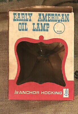 Mint Box Antique Anchor Hocking EAPC Early American Oil Lamp Unused USA Vintage