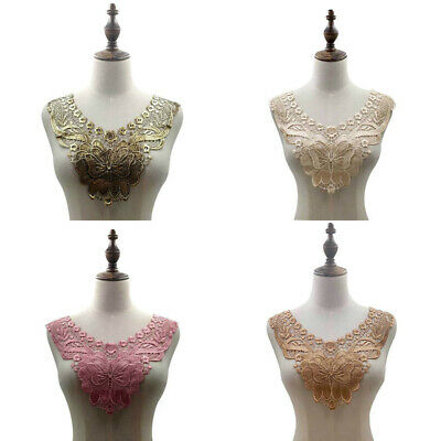 Embroidery Collar Lace Trim Flower Neckline Sewing Applique Patch DIY Craft