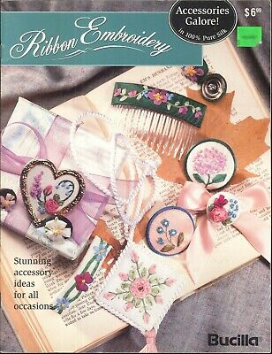 Bucilla Ribbon Embroidery Book Accessories 1994 Iron On Transfers Comb Stick Pin