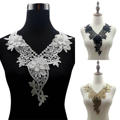 Embroidery Lace Collar Trim Floral Neckline Sewing Applique Patch Fabric DIY
