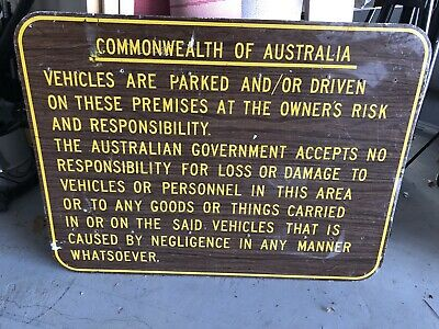 Vintage Metal Commonwealth of Australia Sign Perfect for Garage Man's Cave Rare!