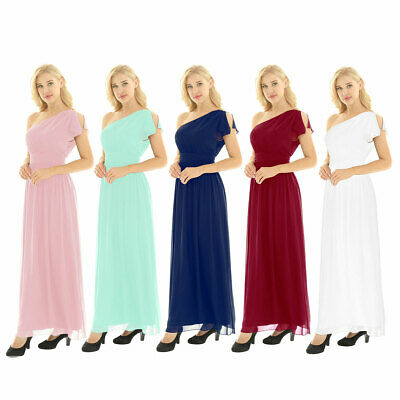 Women's One Shoulder Bridesmaid Long Evening Gown Party Prom Cocktail Maxi Dress