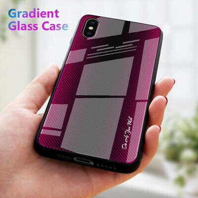 For Apple iPhone XS Max XR X 8 7 6s 6 Plus Stripe Tempered Glass Hard Case Cover