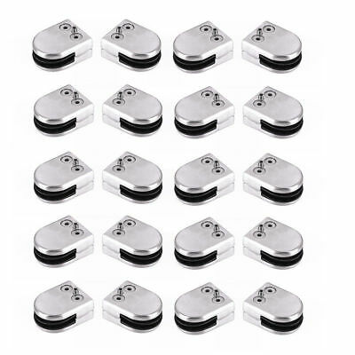 20Pc Stainless Steel D Shape Flat Back Glass Clamps/Brackets, 8-10Mm Glass Clamp