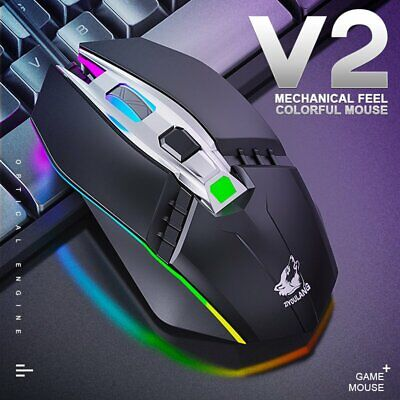 Mechanical RGB 4 Button Gaming Mouse 1800DPI Wired Optical Mice for Laptop PC