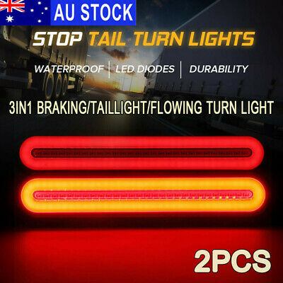 2X Halo Neon Stop Flowing Turn Signal Brake Rear Tail Light Trailer Truck 100LED