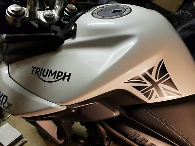 "Triumph Tiger 800 2015 - Present  SIDE TANK PROTECTORS ""UNION JACK"" GLOSS BLACK"