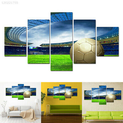 1FC5 Beautiful Oil Painting Football Field Pattern Canvas Print Picture 5 Panels