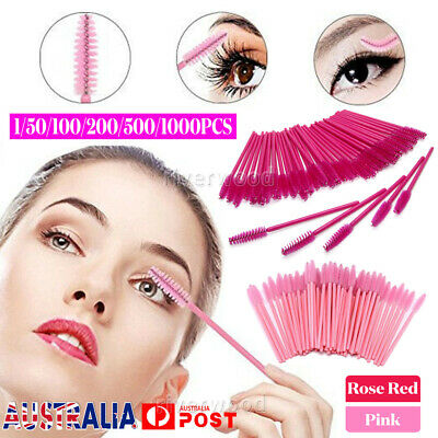 50-1000PCS Pink Eyelash Brush Applicator Makeup Disposable Mascara Wands Set