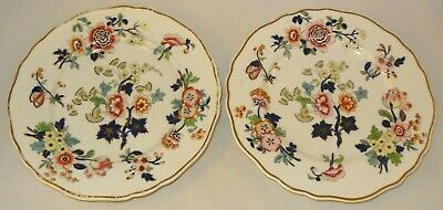 """2 Antique Chamberlains Worcester Floral Gilded Wavy Edged 9"""" Plates c1850"""